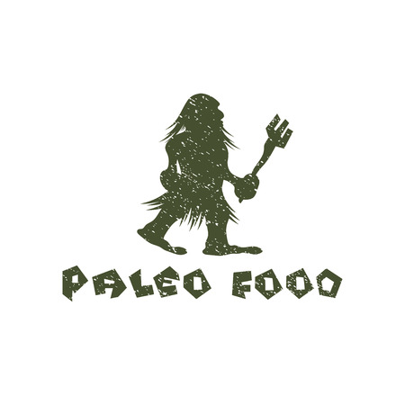 grunge paleo food caveman vector design template Vector