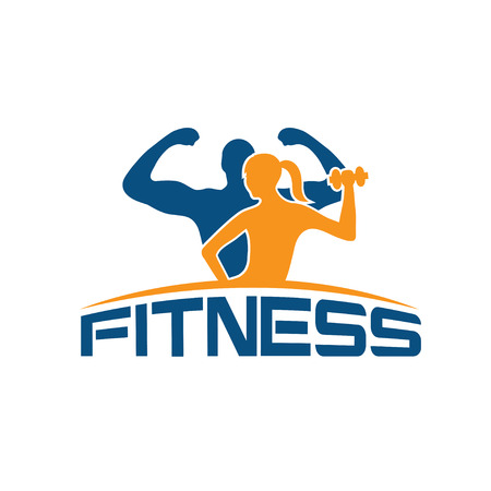 fitness: man and woman of fitness silhouette character vector design template