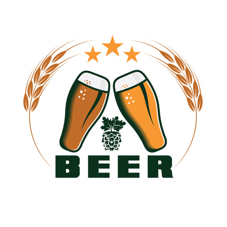 beer emblem design template Vector