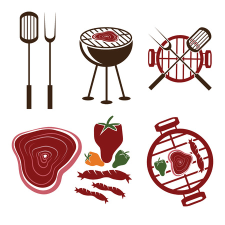BBQ grill labels collection Vector