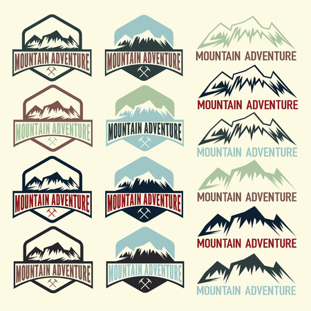 snow capped: set of vintage labels mountain adventure Illustration