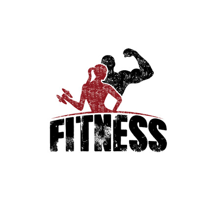 gunge man and woman of fitness silhouette character vector design template  イラスト・ベクター素材