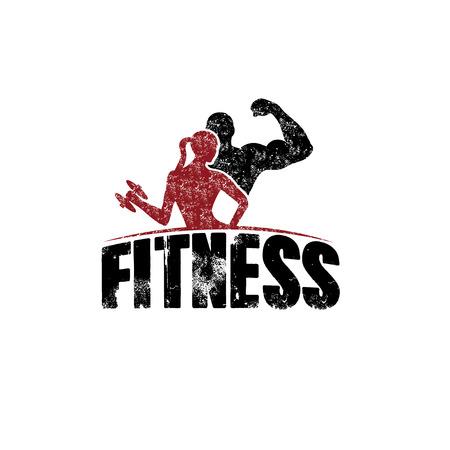 fitness hombres: gunge hombre y de la mujer de la aptitud de la silueta del vector del car�cter plantilla de dise�o