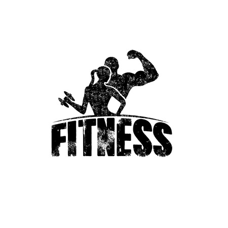 gunge man and woman of fitness silhouette character vector design template Illustration