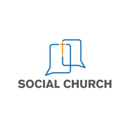 religion catolica: iglesia social Plantilla de dise�o vectorial