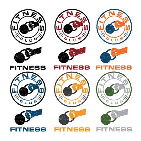 crossbar: kettlebell in the hand fitness emblems
