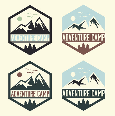 snow capped: set of vintage labels adventure camp Illustration