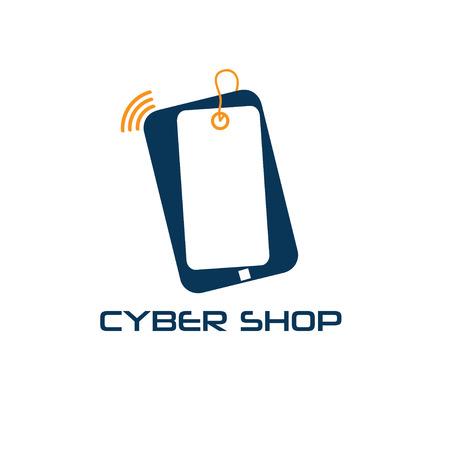 cyber phone shop vector design template Vector