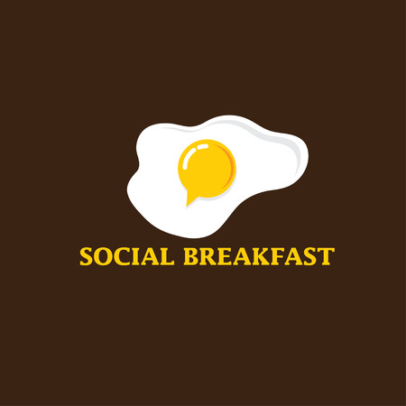 brown egg: social breakfast with fried eggs vector design template