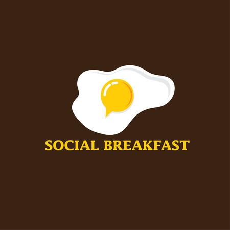 egg yolk: social breakfast with fried eggs vector design template