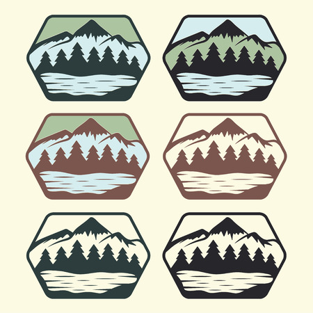 set of vintage labels with lake,mountains and pines