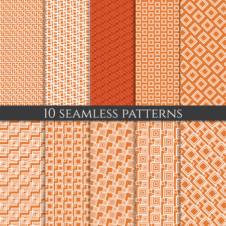 mid century modern: Illustration set of abstract geometric seamless patterns. Vector Illustration