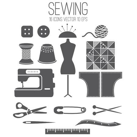 kit de costura: Conjunto de la ilustraci�n icono de .Vector costura Vectores