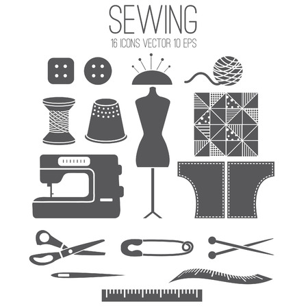 sewing button: Illustration set icon of sewing .Vector