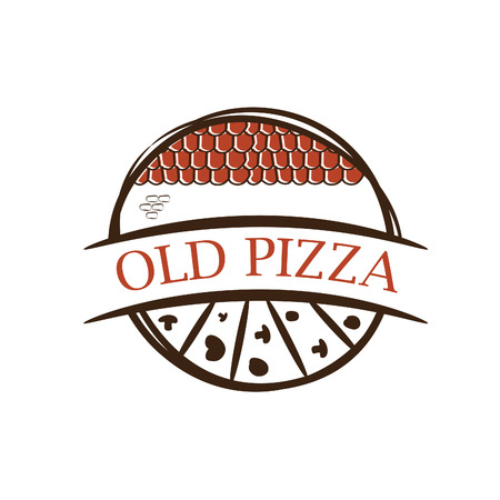 shingles: Illustration of old label pizza,with shingles .Vector