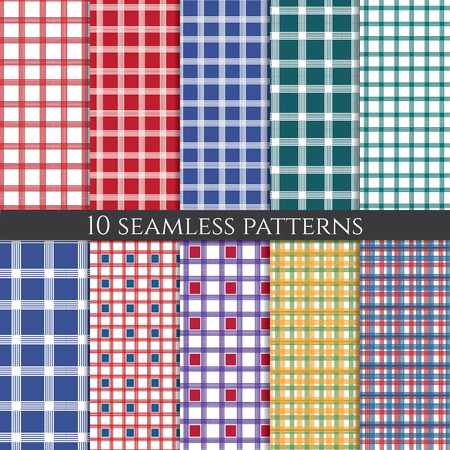 Illustration set of abstract geometric seamless patterns. Vector Vector
