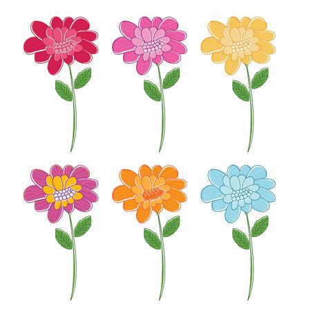 margerite: Illustration set of beautiful colour flowers. Vector
