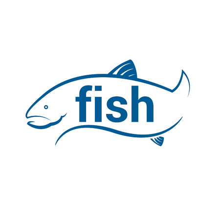 gill: Abstract icon fish with text. Vector