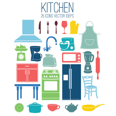 Illustration set icon of kitchen. Vector Vector