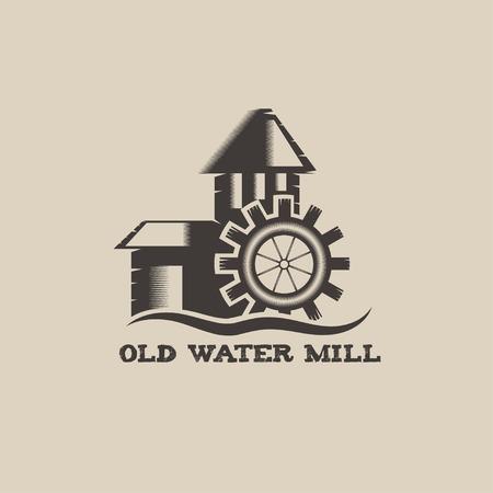 granary: vecchio mulino ad acqua illustrazione d'epoca