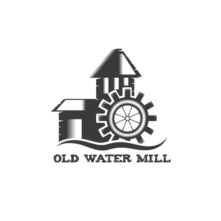 water mill: old water mill vintage illustration