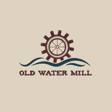 watermill: old water mill vintage illustration