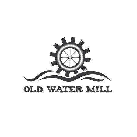 古い水車ビンテージ イラスト
