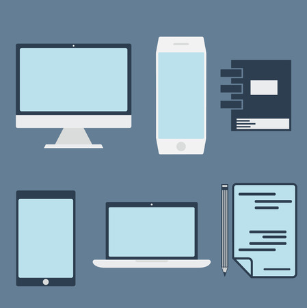 flat design office elements and computer ,tablet, laptop and smartphone Vector