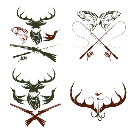 Set of vintage hunting and fishing labels and design elements