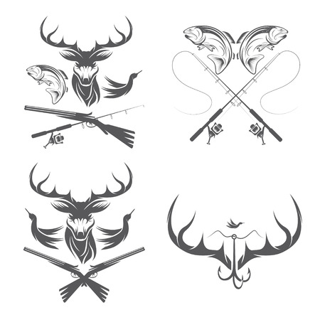 hunting: Set of vintage hunting and fishing labels and design elements
