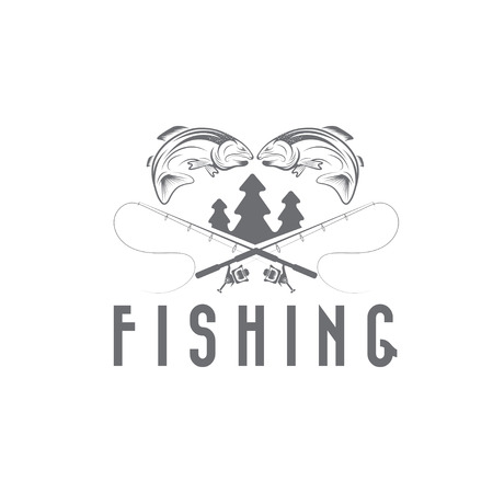 vintage fishing vector design template Vector