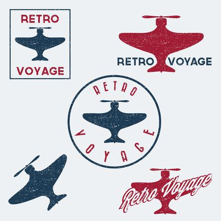 aeronautic: Set of vintage retro grunge aeronautics flight badges and labels