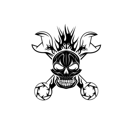 crest with skull,flame and spanners Vector