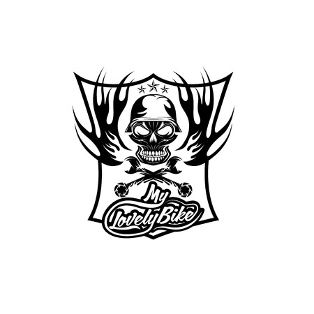 my lovely bike auto crest with skull in helmet Illustration