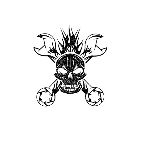 grunge crest with skull,flame and spanners Vector