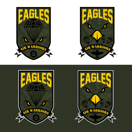 eagles air warrriors army shields set vector design template Vector