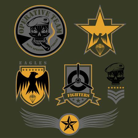 military special forces: Special unit military emblem set vector design template