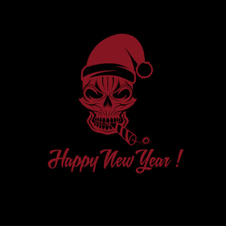 skull with a cracker in his mouth and a Santa Claus hat Vector