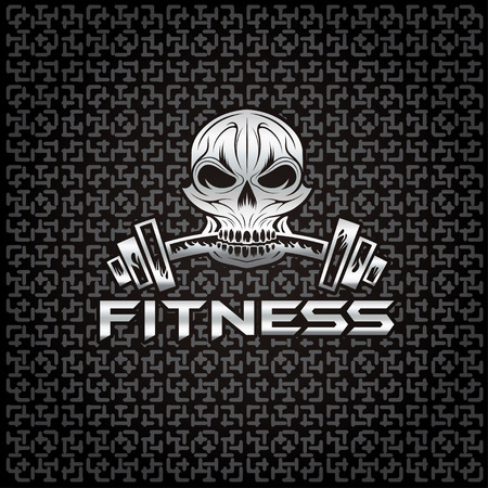 silver skull holding a barbell in the teeth Vector