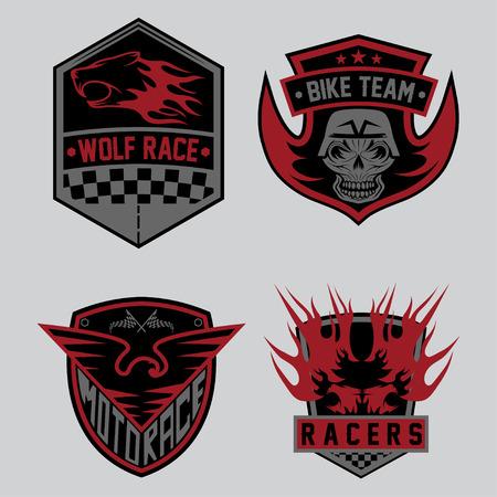 auto and moto racing emblem set and design elements Vector