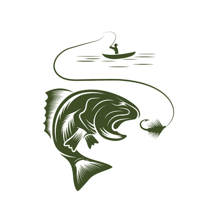 illustration of fisherman in a boat and big mouth bass Vector