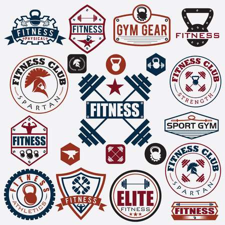 fitness equipment: Set of various sports and fitness icons and design elements