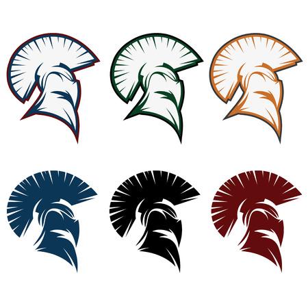 helmets: spartan warrior set vector design template