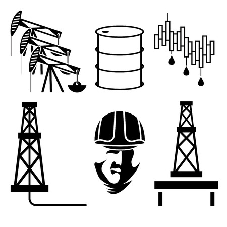 oil industry elements and symbol of fall and rise of oil prices Illustration