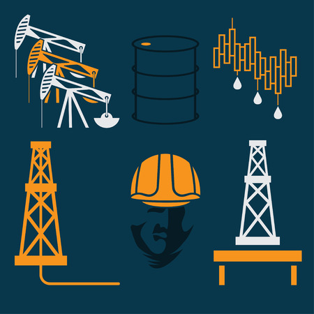 rise fall: oil industry elements and symbol of fall and rise of oil prices Illustration