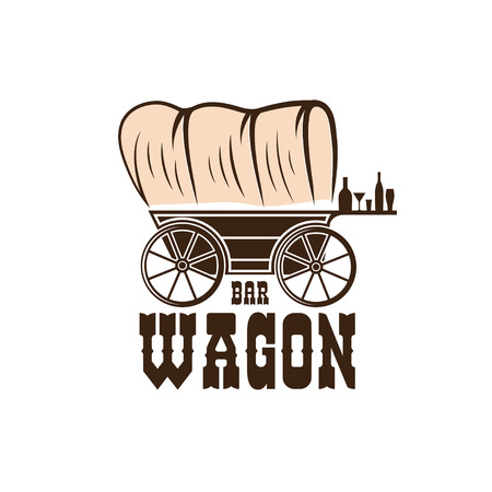 wheel barrel: wagon western bar concept vector design template Illustration
