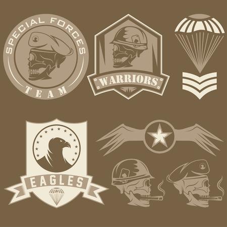 Special unit military emblem set vector design template