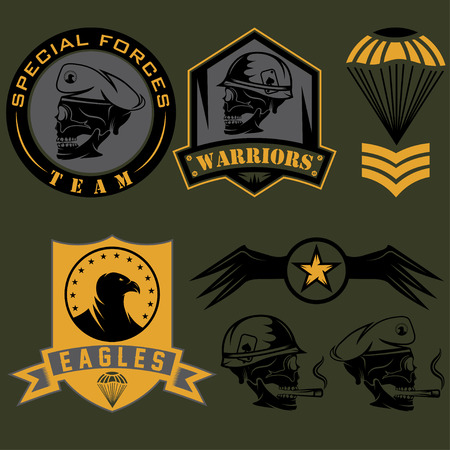 military shield: Special unit military emblem set vector design template