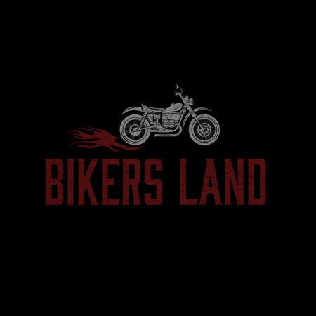 adrenalin: vintage grunge motorcycle with flames graphic vector design template