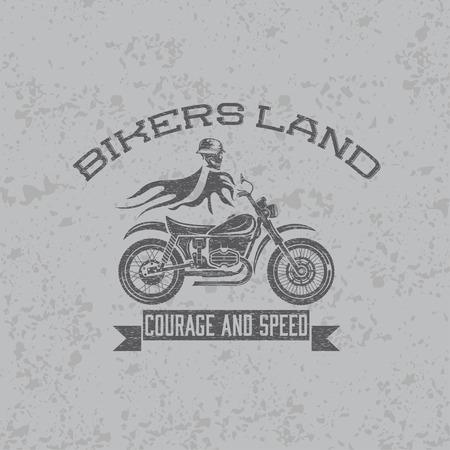 spurt: grunge skull in helmet on bike with flames concept vector design template Illustration